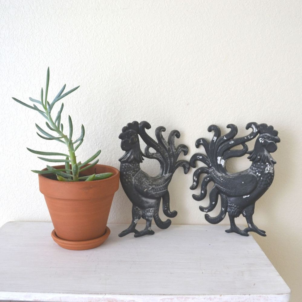 Rustic Rooster Wall Decor : Rustic metal rooster wall hangings black by