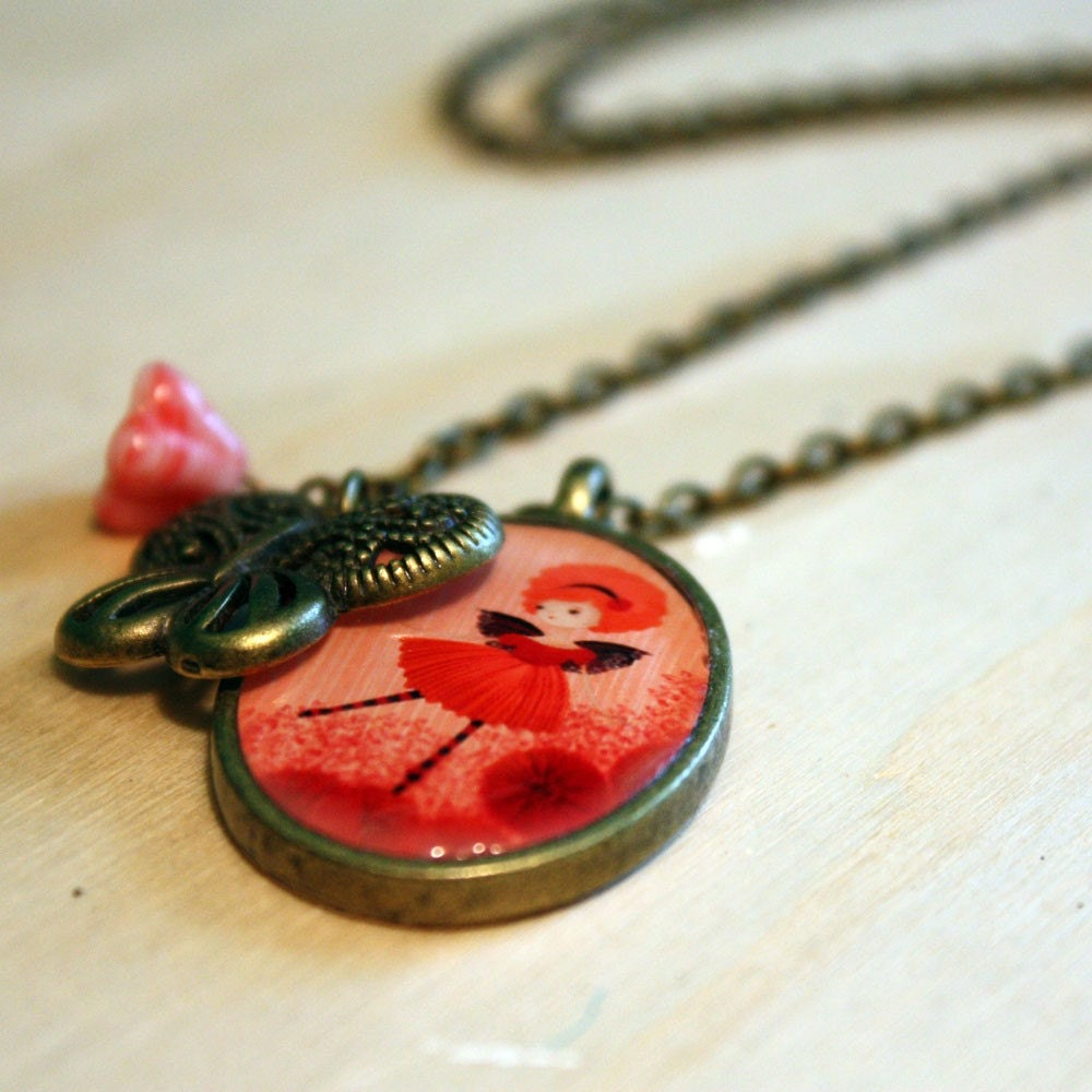 Garden Fairy Poppy Antique Brass Charm Necklace