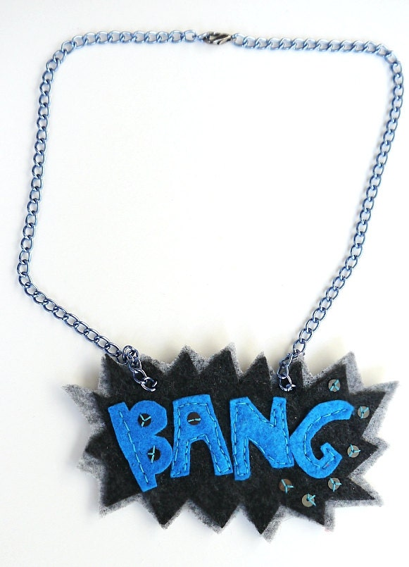 BANG Comic Book  Felt Necklace ---SEASON SALE---- - Karakoncolos