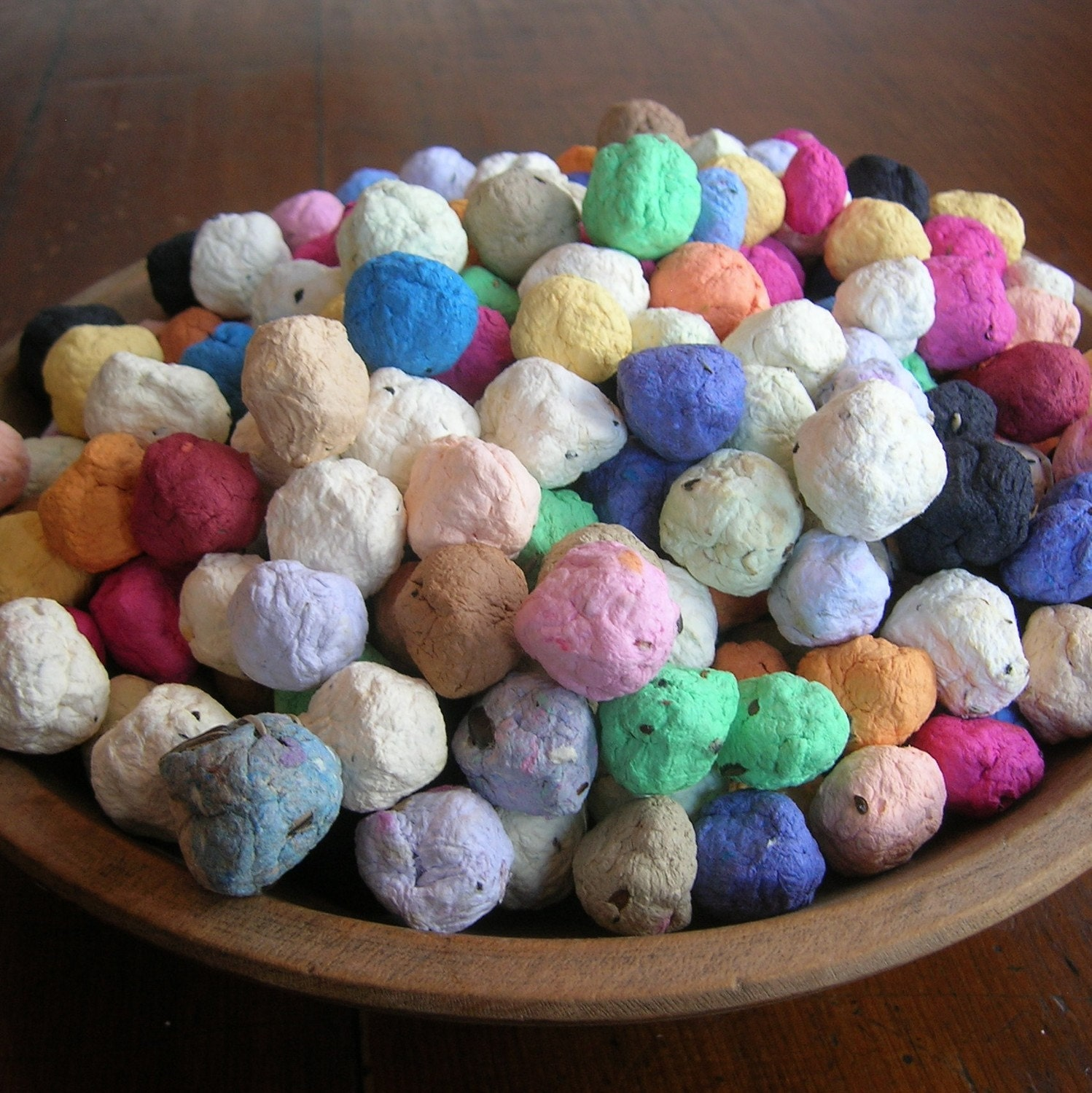 DEPOSIT on CUSTOM order of Seed Bombs for your special event favors - colorful balls of handmade paper embedded with perennial and annual flower seeds