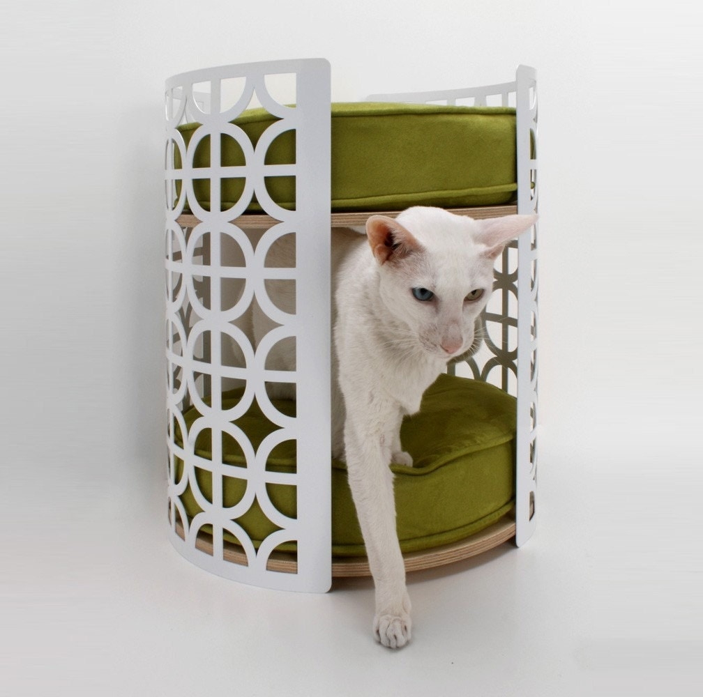 Palm Springs Lounge - Ultra Mod Two-Story Cat Bed (Chartreuse Ultrasuede Cushions)