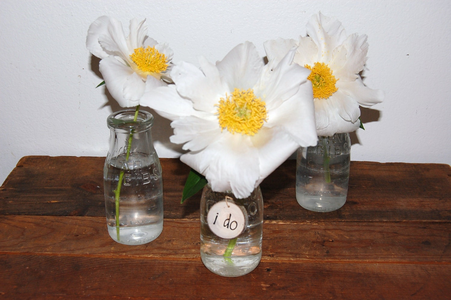 Wedding centerpiece glass vases wood charms vintage by