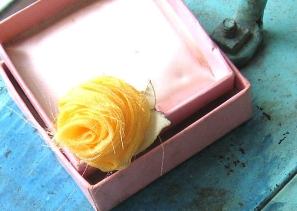Fabric Rose Flower Ring, You Are My Sunshine
