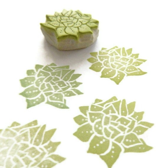 Succulent Plant Rubber Stamp - Cling Rubber Stamp - creatiate
