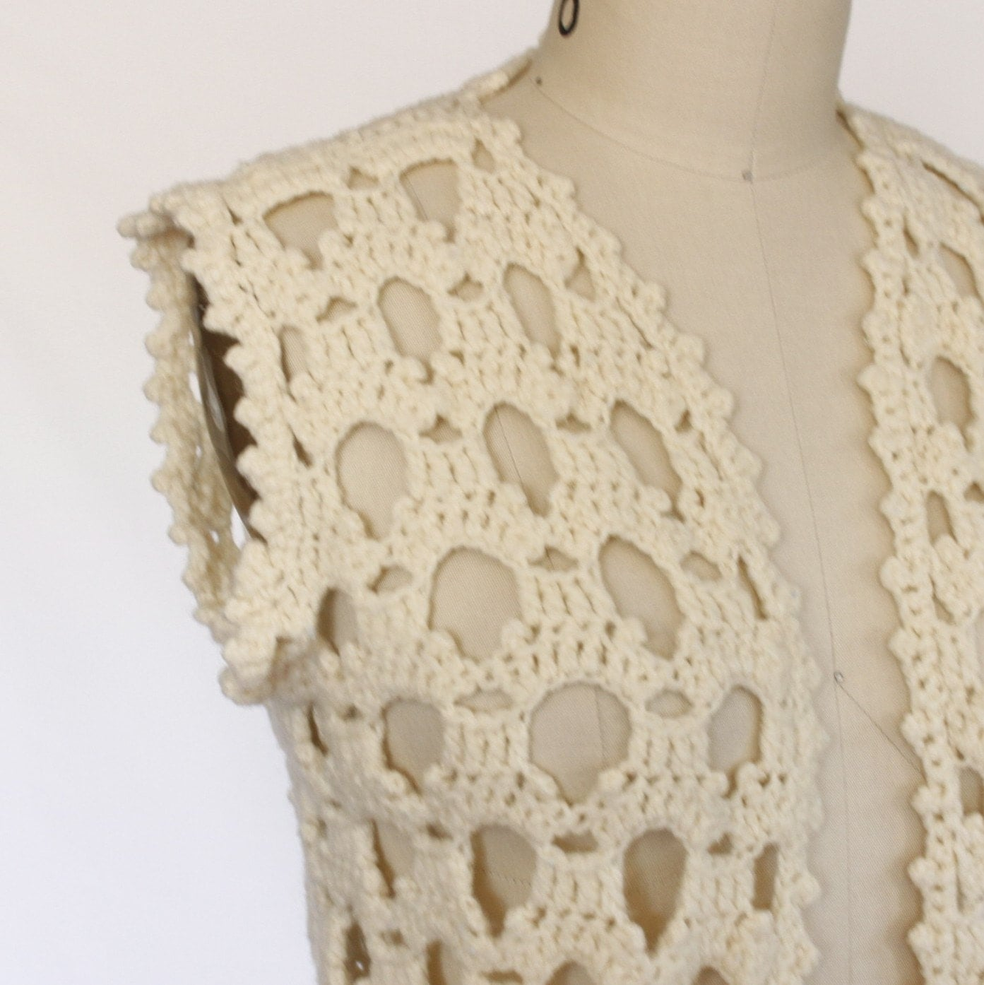 OPENWORK cream CROCHETED vintage VEST