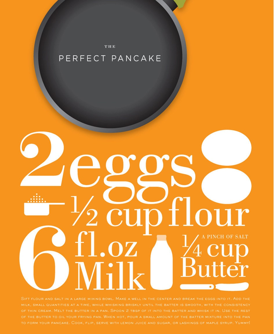 Mid century poster kitchen print , The Perfect Pancake recipe, 11 x 17 in, A3 artists giclée print