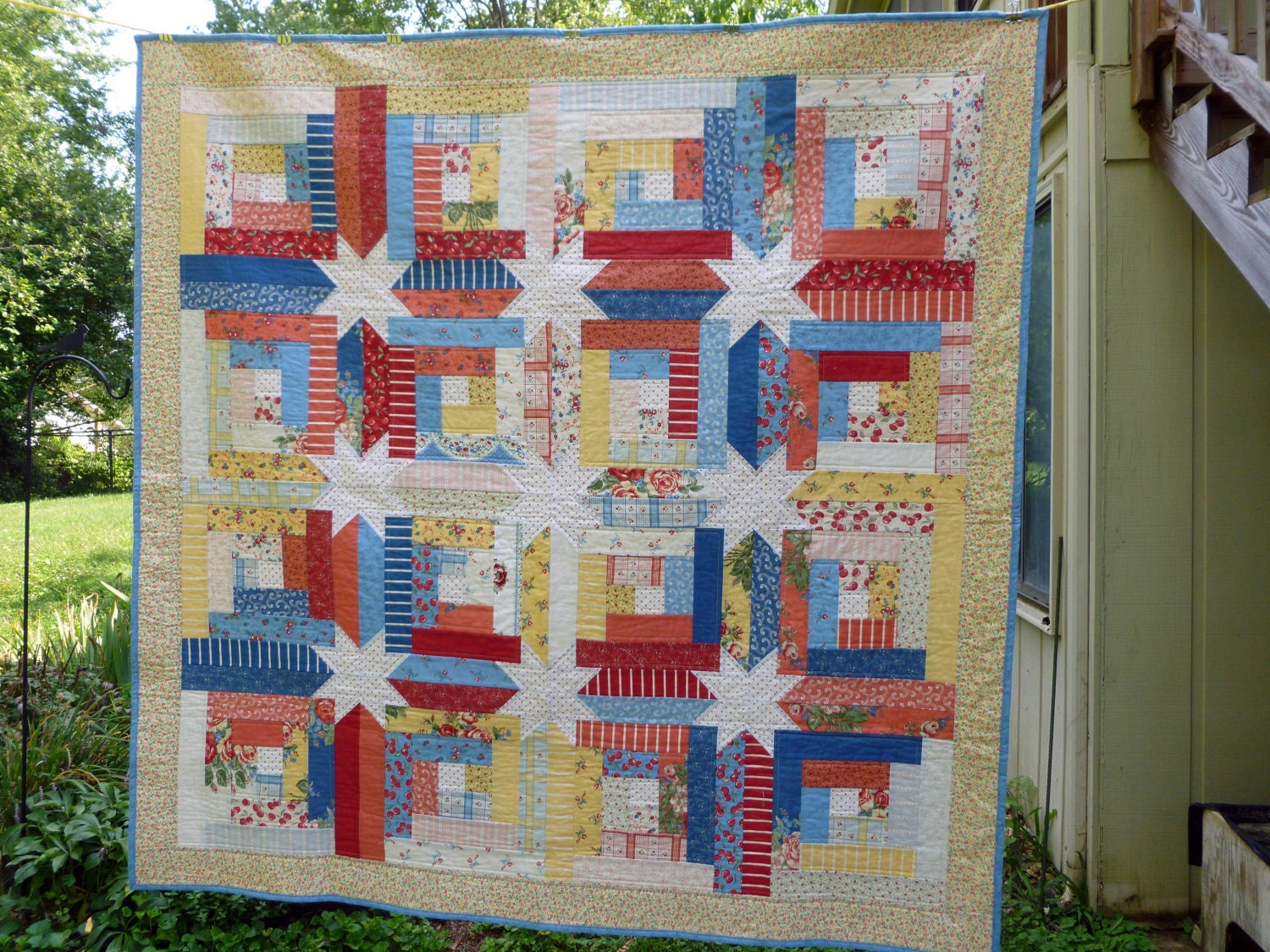 Log Cabin Hidden Stars Jelly Roll Quilt by HePaintsSheSews on Etsy