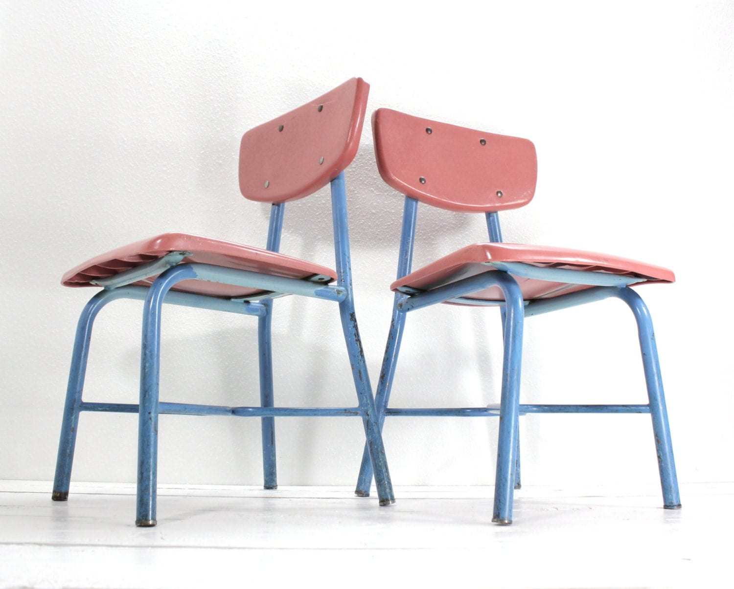 Pink School Chair Set-Metal and Plastic-Mid Century Modern - AtomicAttic