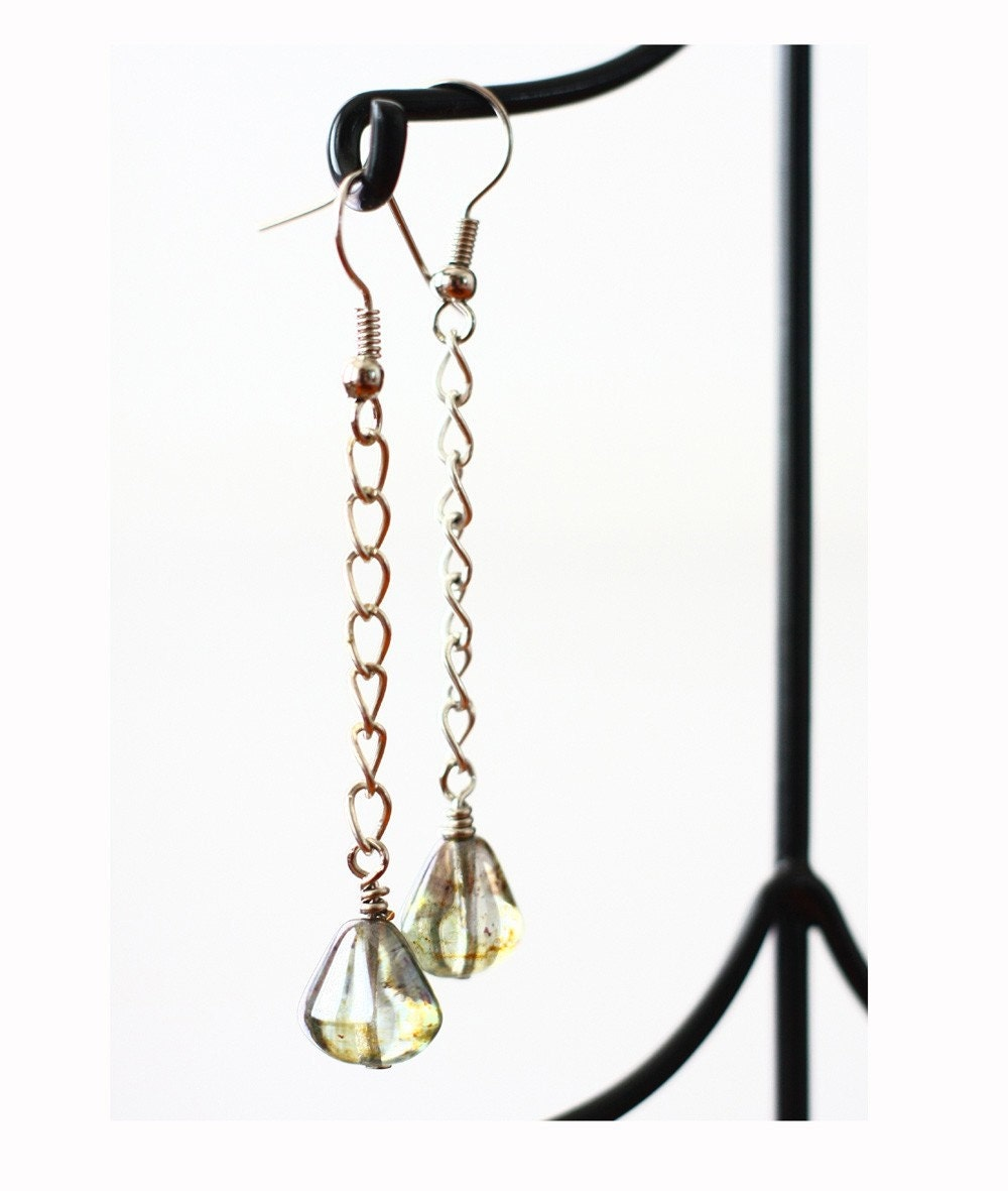 Chained to Glass - czech glass earrings