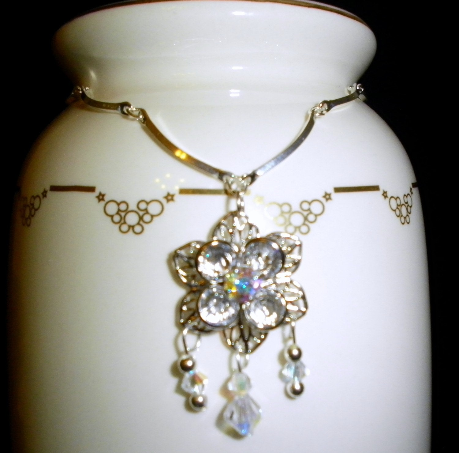 filigree flower Swarovski crystal necklace