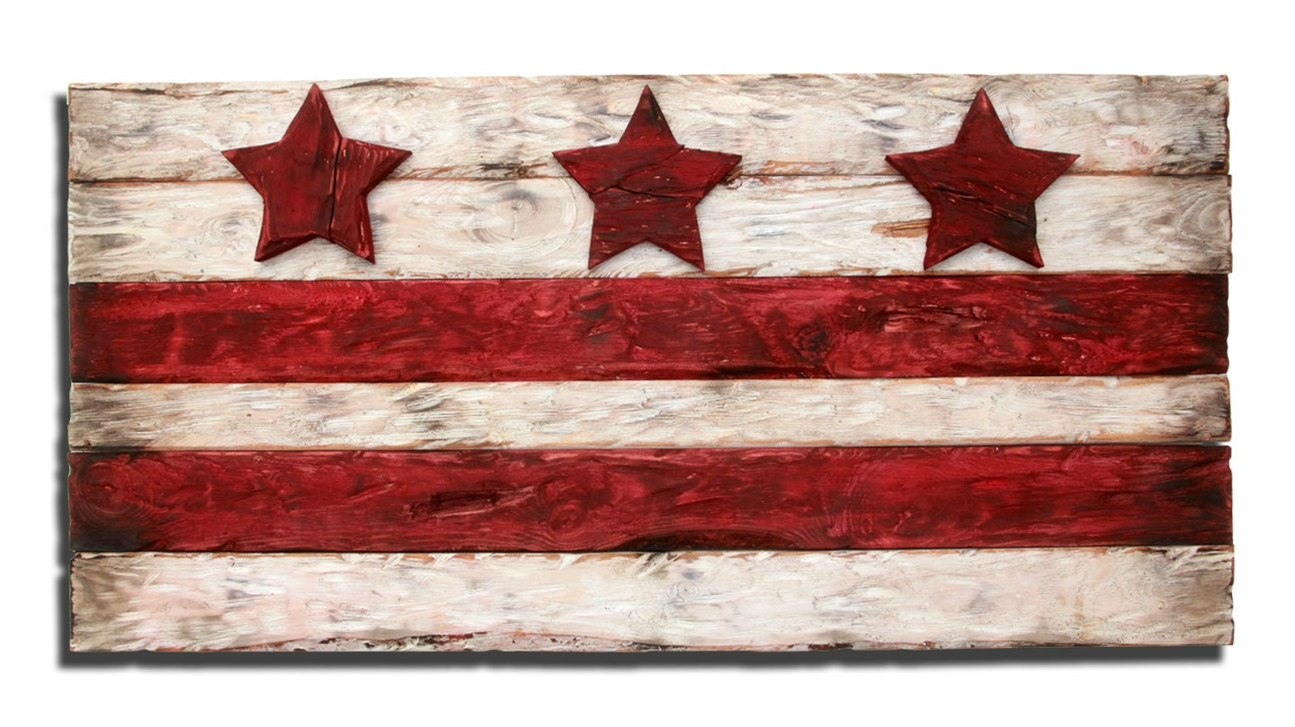District of columbia flag weathered wood by for Reclaimed wood dc