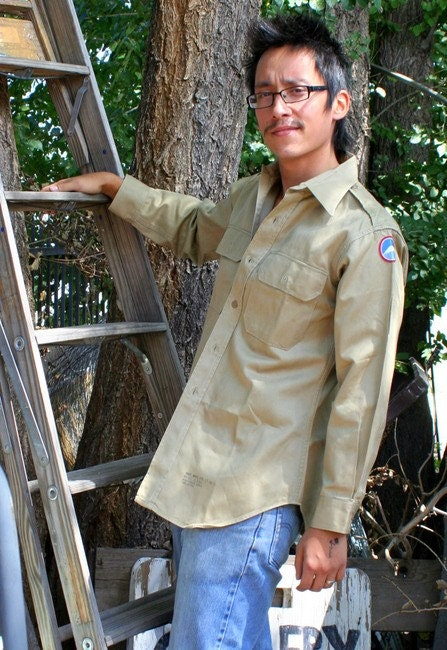 Vintage Mens Army Style Khaki Shirt with Shoulder Patch
