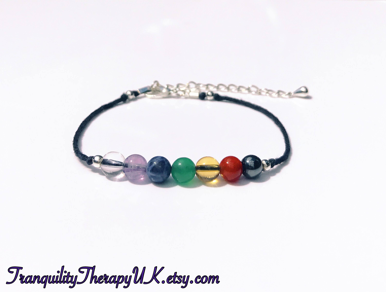 Chakra Gemstone Anklet. Crystal Healing. Balancing. Yoga. Tranquility. Meditation. Rainbow. Genuine Gemstones. Aura. Summer Jewellery. Beach