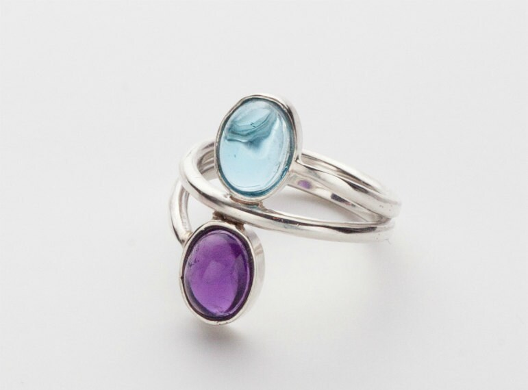 Blue Topaz and Amethyst Sterling Silver Ring - Size 7