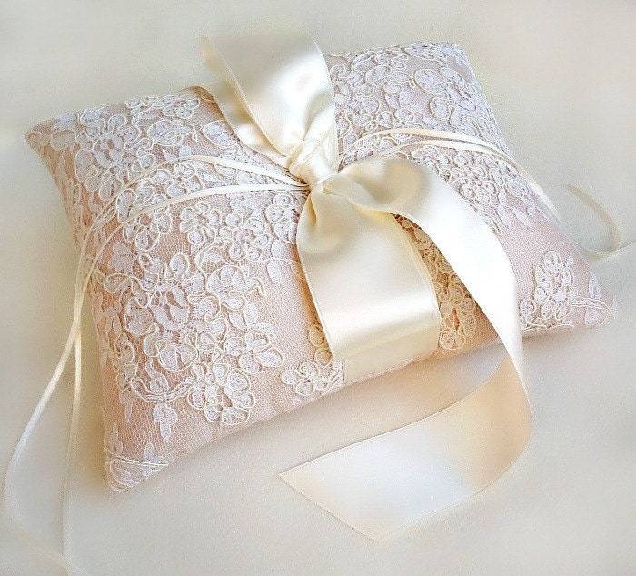 Lillian Blush Pink Silk and Vintage Ivory Alencon Lace Ring Pillow