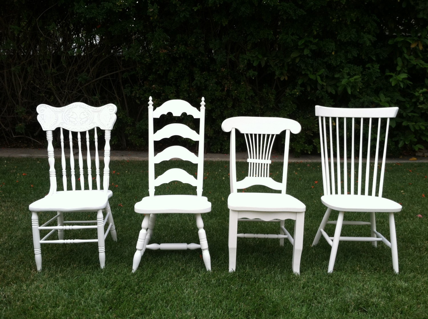 Vintage Dining Chairs Set Of 4 Mix Match White By ThePaintedLdy