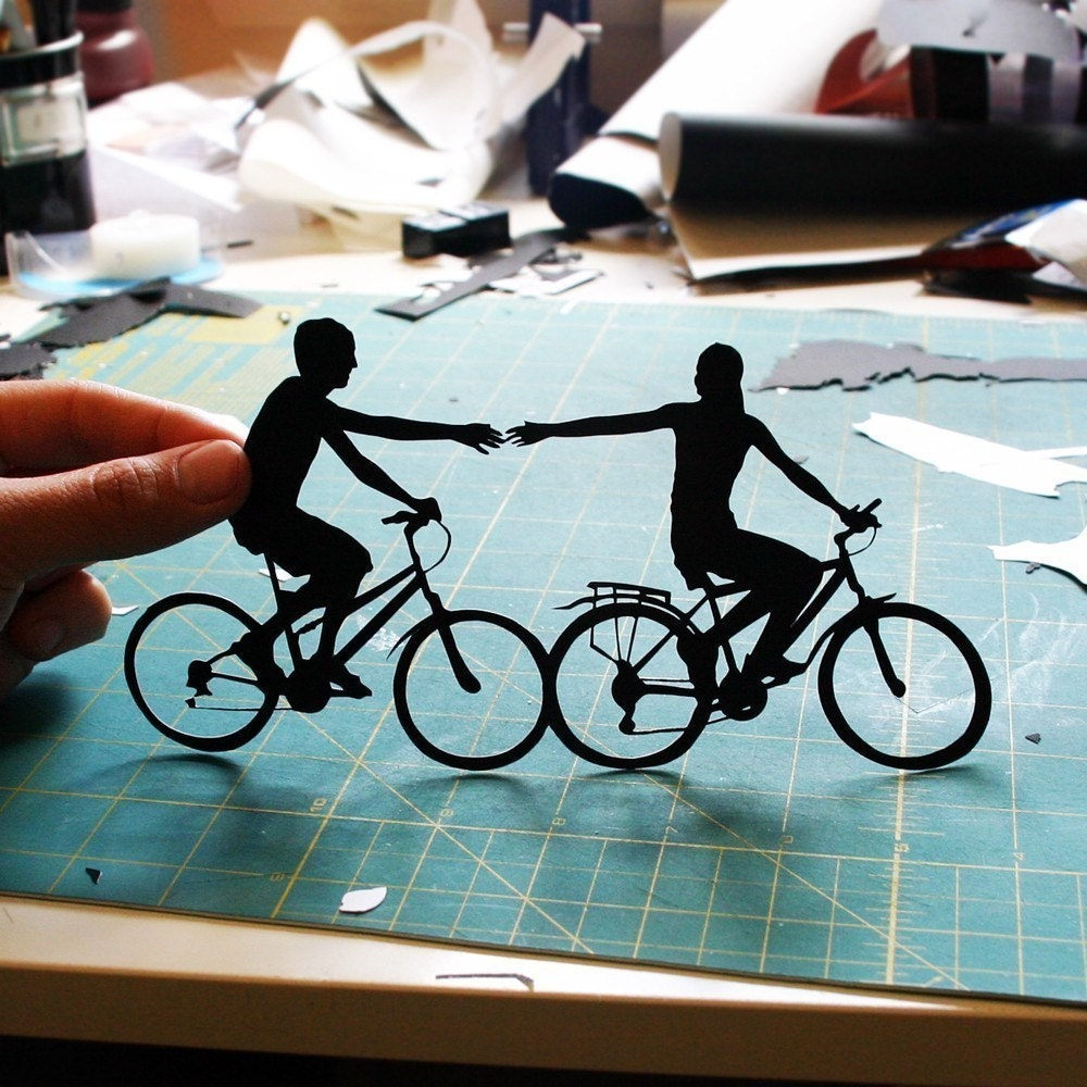 Valentine's Day Gift Papercut Couple on Bikes- 8x10