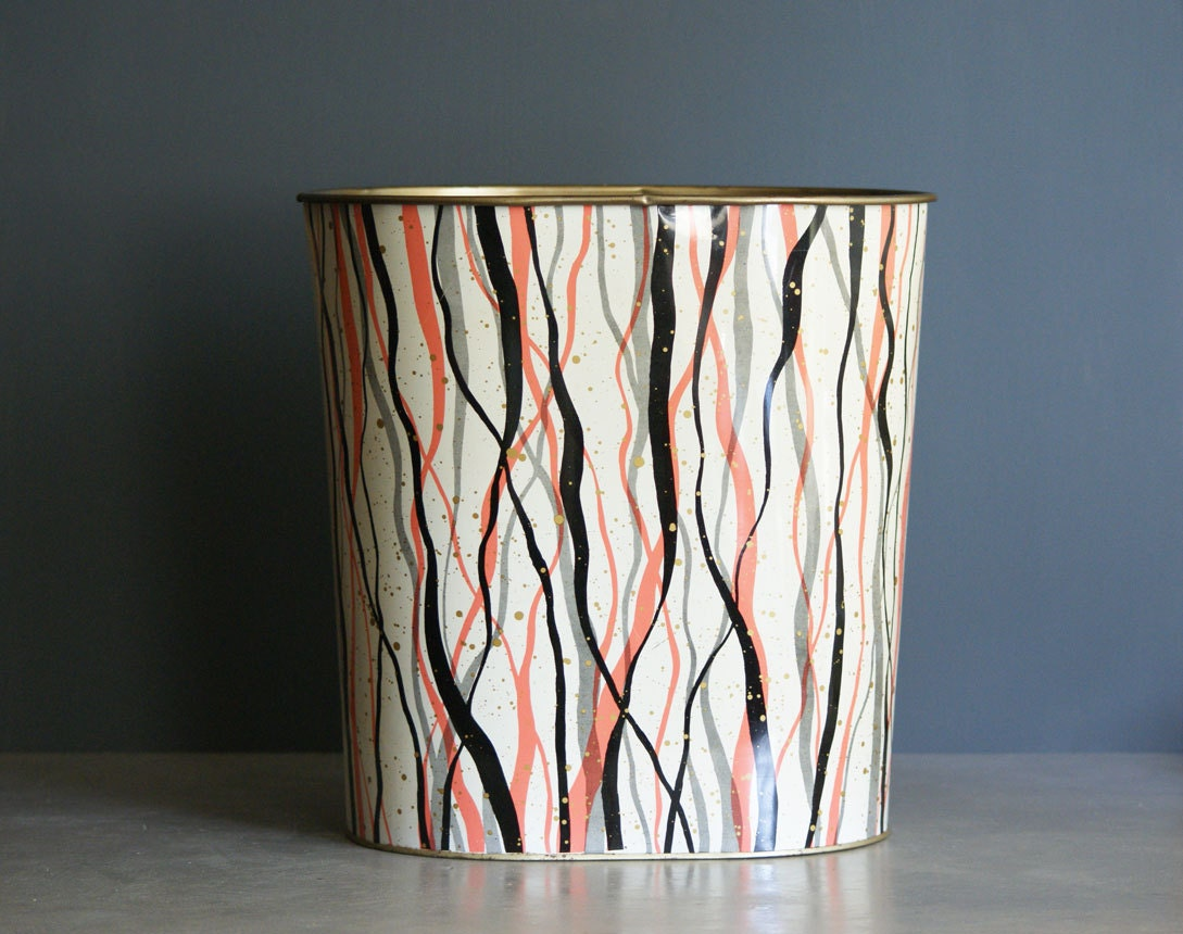 Vintage Waste Paper Basket With Mod Design From The By