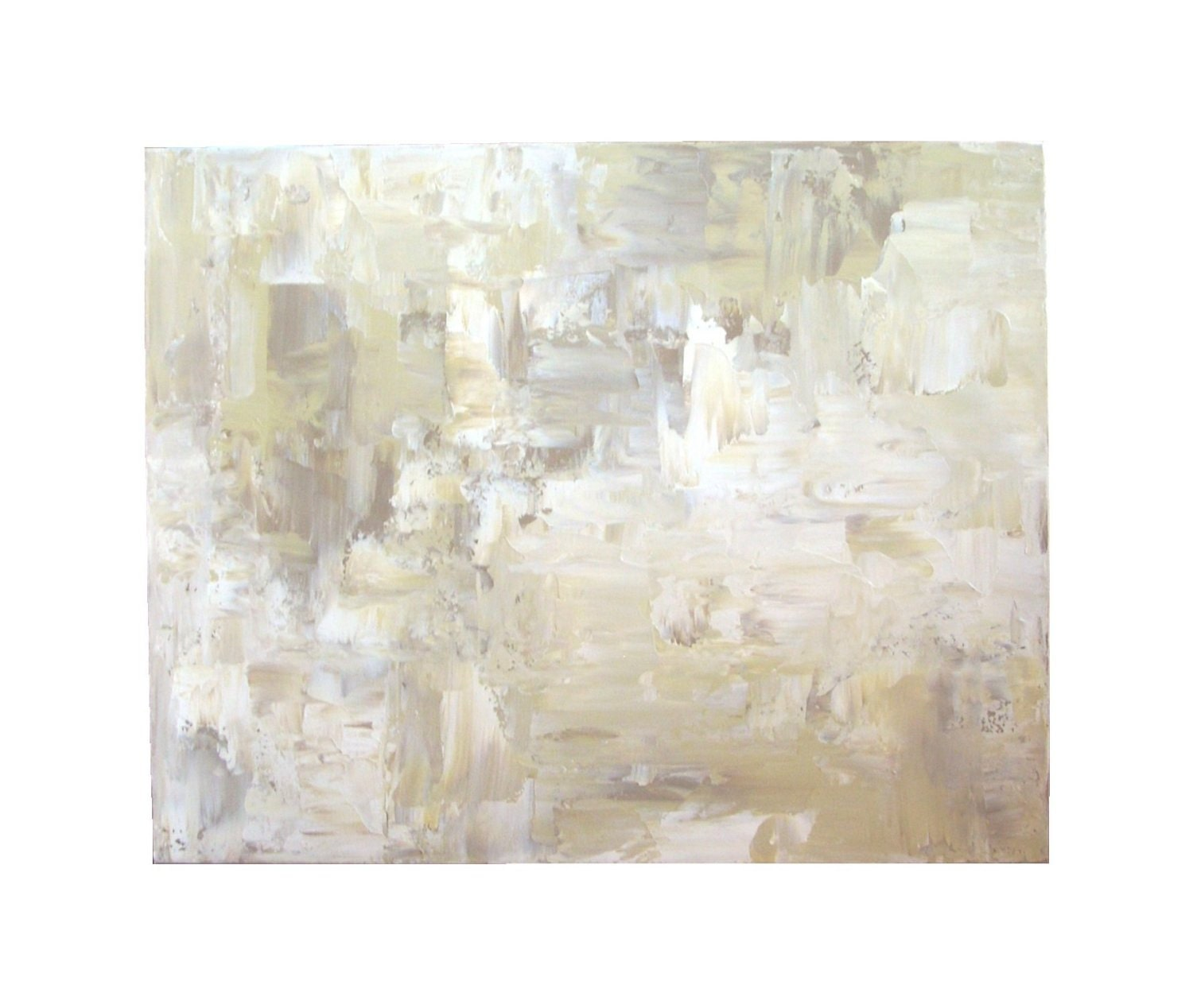 Wall Decor On White Wall : White abstract painting large acrylic wall art by