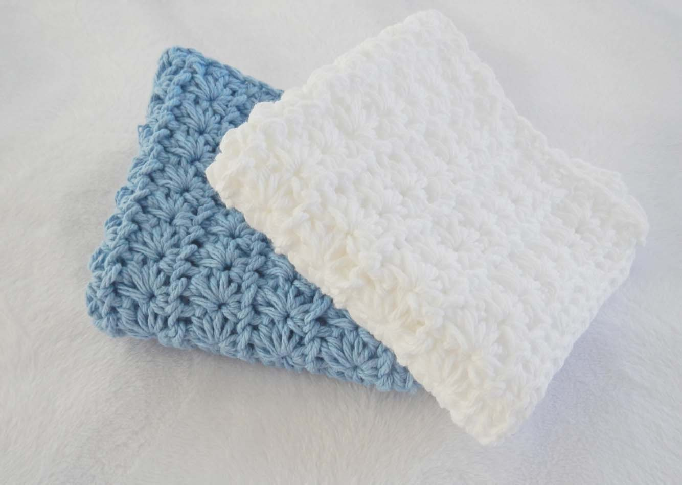 Crochet Washcloth or Dish Cloth for Bathroom or Kitchen - Cotton Cloth - Large - White and Blue - HerterCrochetDesigns