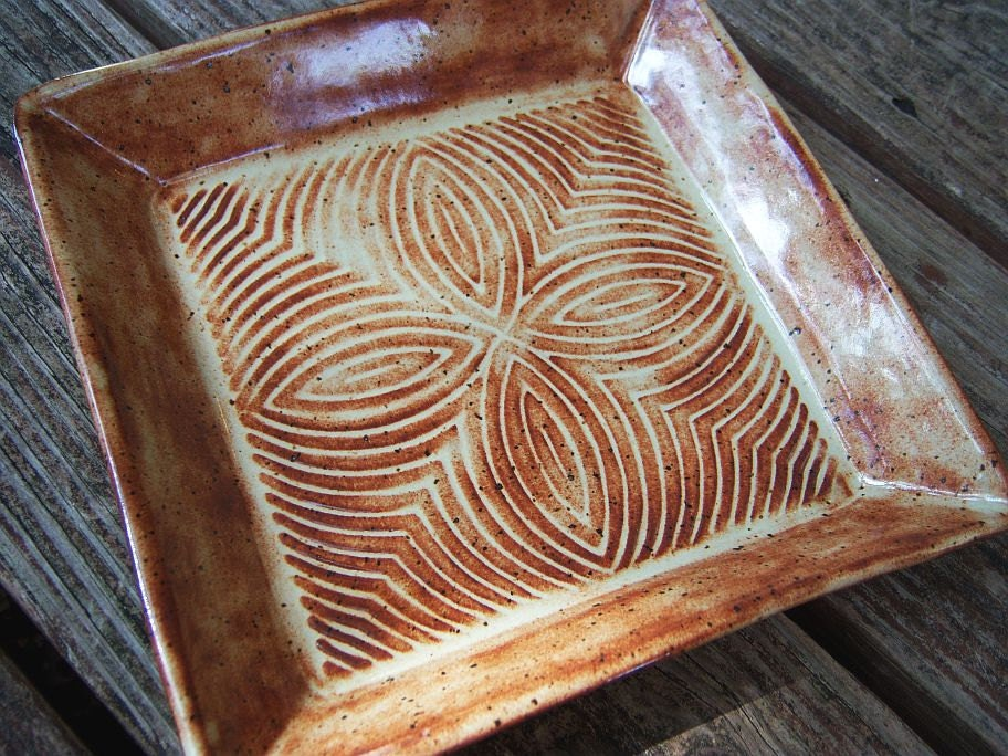 Square Textured Stoneware Plate in Shino Glaze