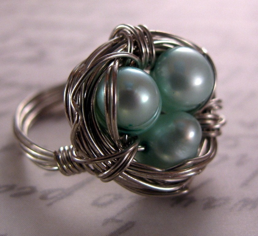 Robin's Egg Nest Ring made with CUSTOM PEARL COLOR and SIZE (nontarnish silver wire and pearls)