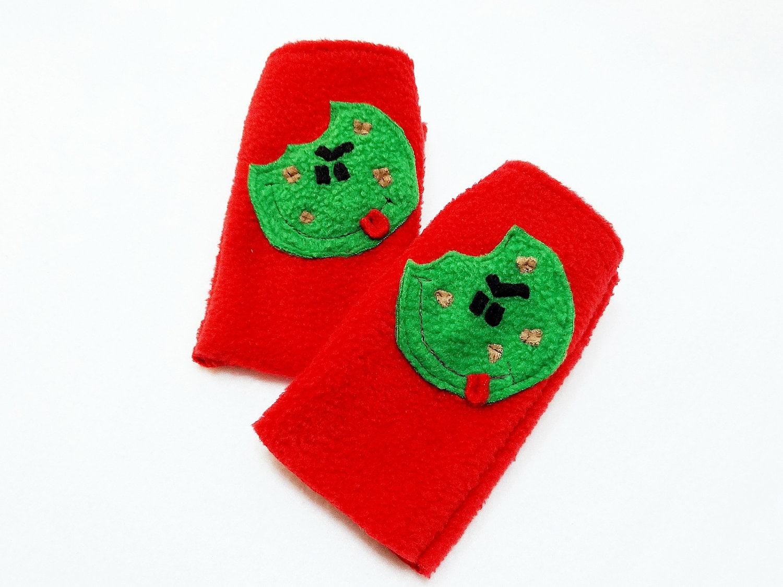 Fingerless Gloves Children Tough Cookie Green Fingerless Mitts