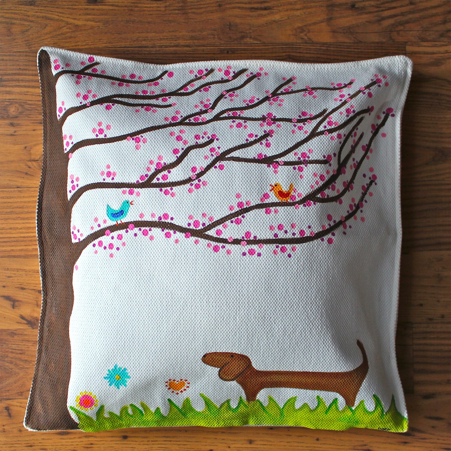 How To Make A Decorative Pillow By Hand : Hand Painted Dachshund Decorative Pillow Cover by MaxMinnieandMe