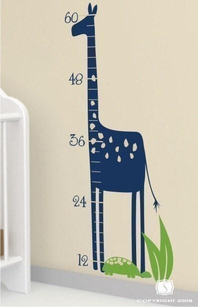 Safari Giraffe Growth Chart Nursery Vinyl Wall Decals Stickers Art
