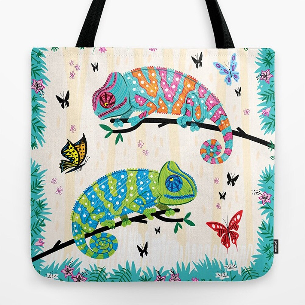 Seeing Spots  Childrens Tote Bag  Book Bag   Record bag  Chameleons and Butterflies  animal nature  wildlife  art bag  18 x 18