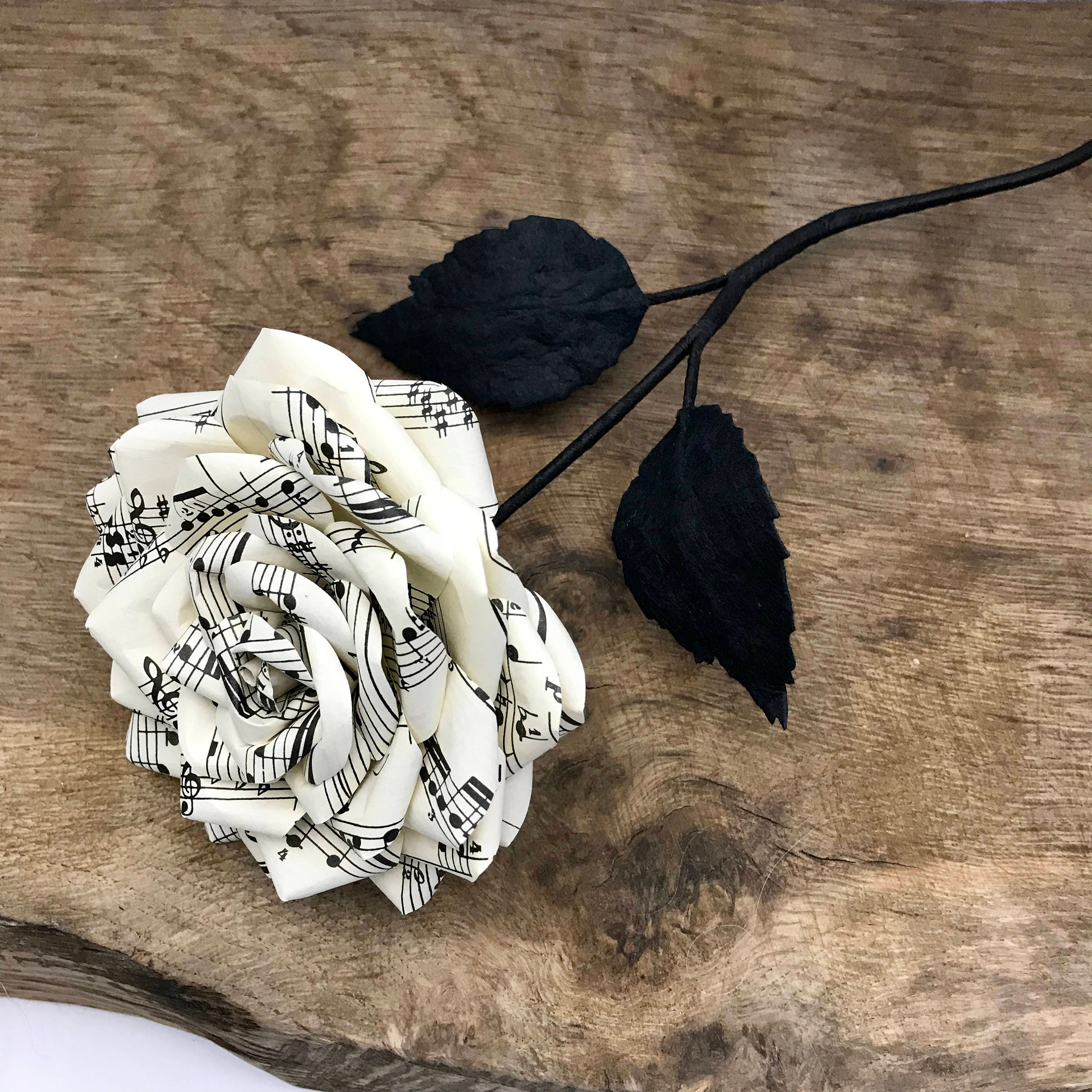 Image of Paper rose made from vintage music sheet, Ready to post, UK, Paper Flowers, weddings, 1st wedding anniversary, birthday, valentines, love.