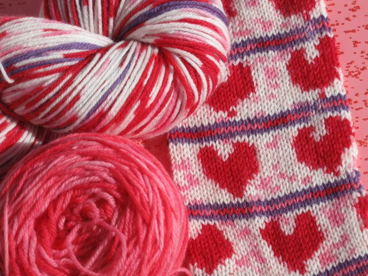 pre-order Valentine Heart self patterning sock yarn kit