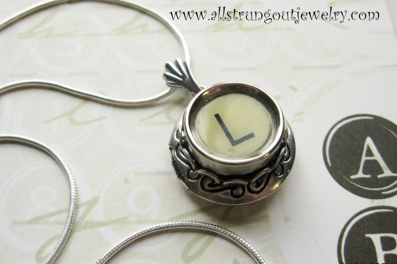 Vintage Typewriter Key Silver Locket - your choice of key
