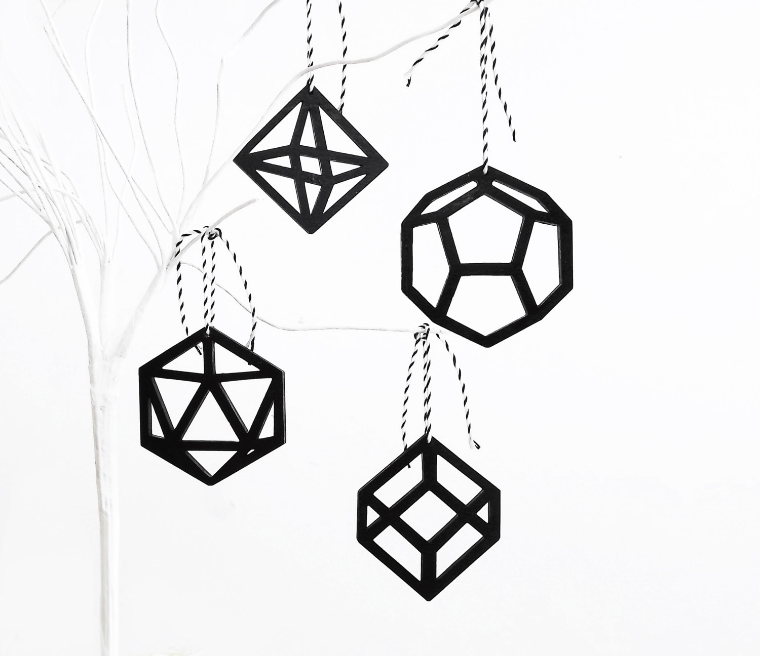 Geometric Modern Black Christmas Tree Ornaments Decorations - Laser Cut x4 - SketchInc