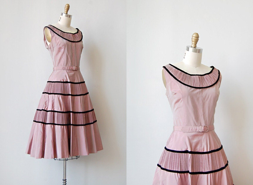 vintage 1950s rose pink taffeta dress | CECILE WAS NEVER LOVELIER DRESS