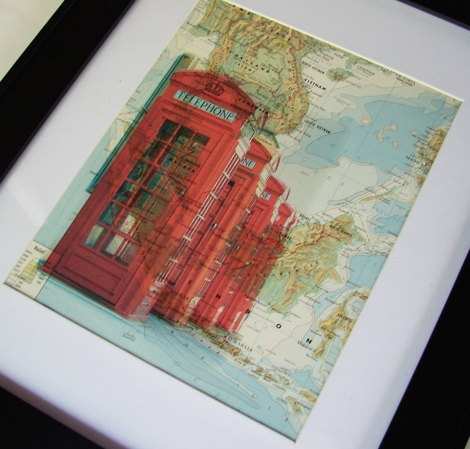 Vintage MAP Art Print - Londons Red Telephone Booth / Box - 8x10