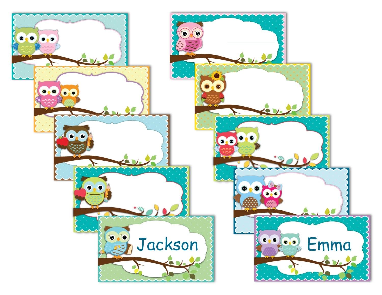 Editable Owl Name Tags C Ile Web E H 252 Kmedin