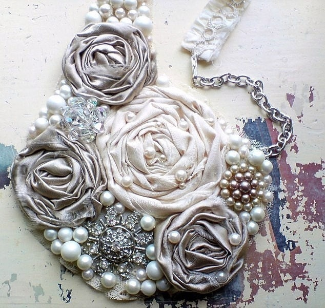 Romantic silver screen star statement rosette bib necklace, gray/silver shimmer - a Design for Mankind pick