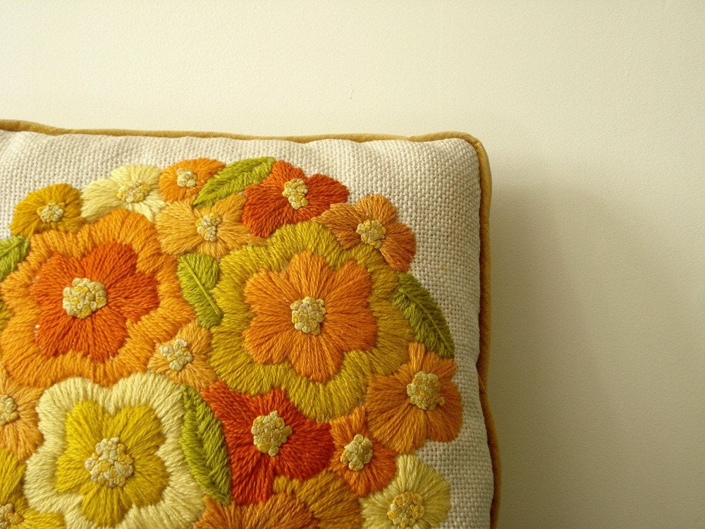 Vintage Embroidered Flowers Throw Pillow