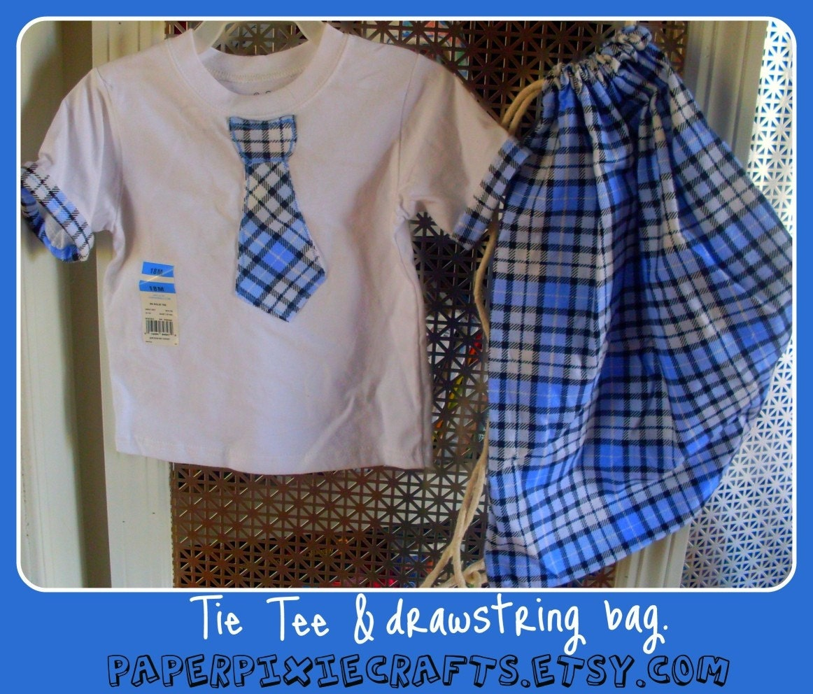 Tie applique tee, drawstring tote, and matching pants