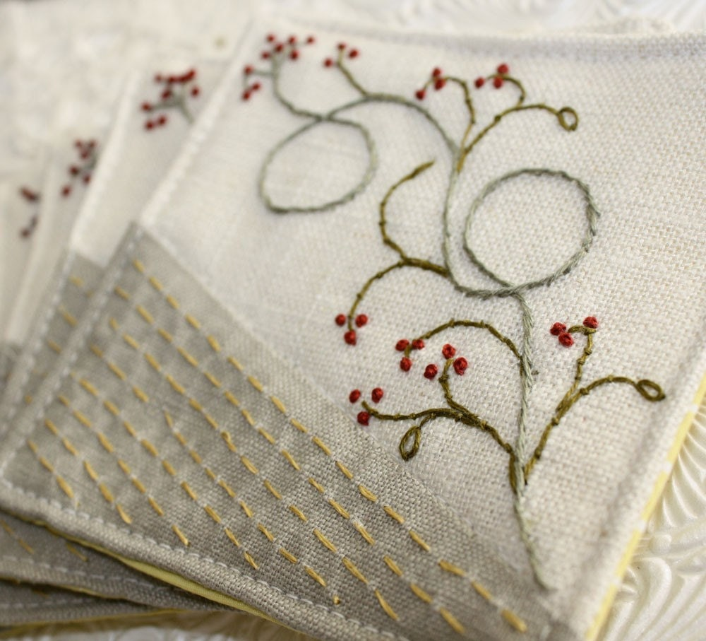 Hostess Gift: Linen Fabric Winterberry Coasters Hand Embroidery Home