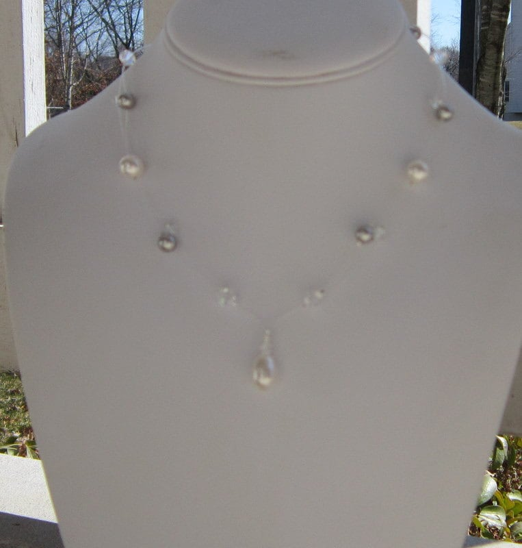 Illusion Necklace Set Bridal Pearl and Crystal Bridesmaids, White Kisses Floating