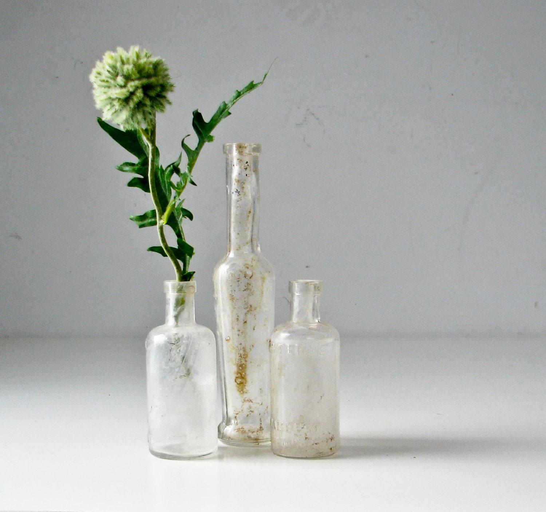 3 Vintage  Glass Bottles - BeeJayKay