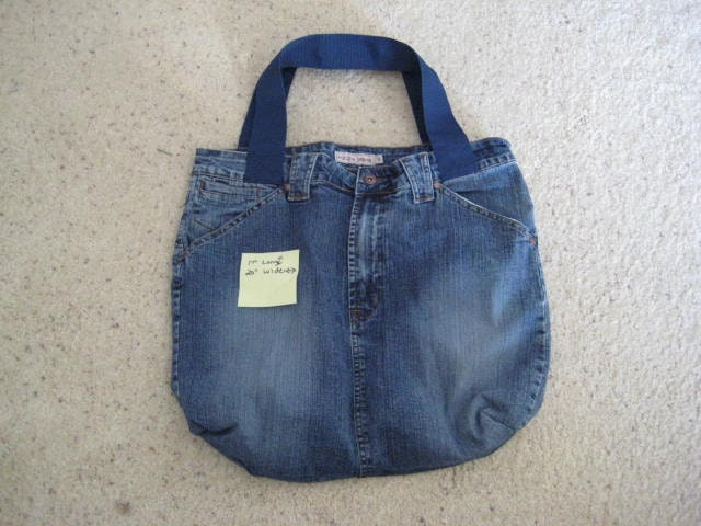 Market Grocery Tote Bag Repurposed Denim with Poly Webbing Handles Large Size