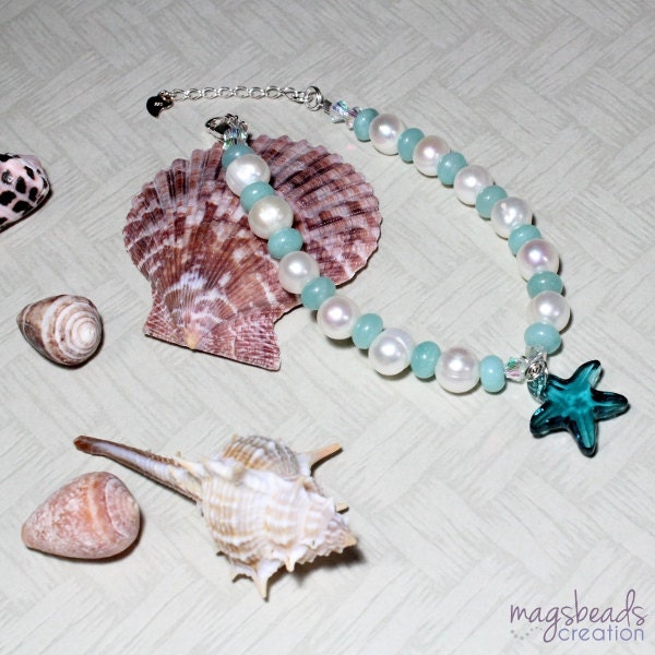 Amazonite and Pearls Beaded Bracelet by MagsBeadsCreation