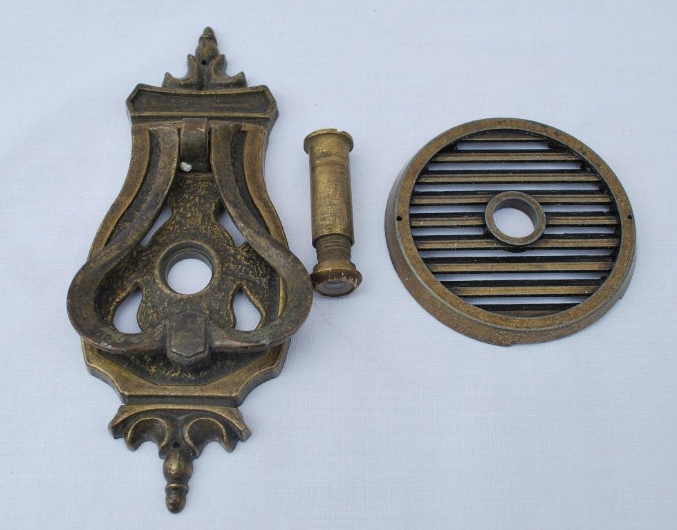 Vintage brass door knocker with peephole viewer by redrockvintage - Brass door knocker with viewer ...