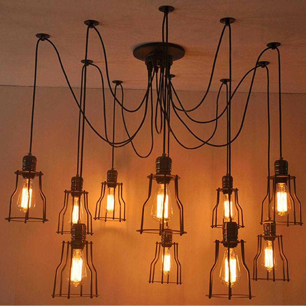 Industrial Vintage 6 or 10 head bulb Spider Light cage ceiling Pendant Chandelier Fixture. Rustic Retro Antique Modern Art Deco Hanging