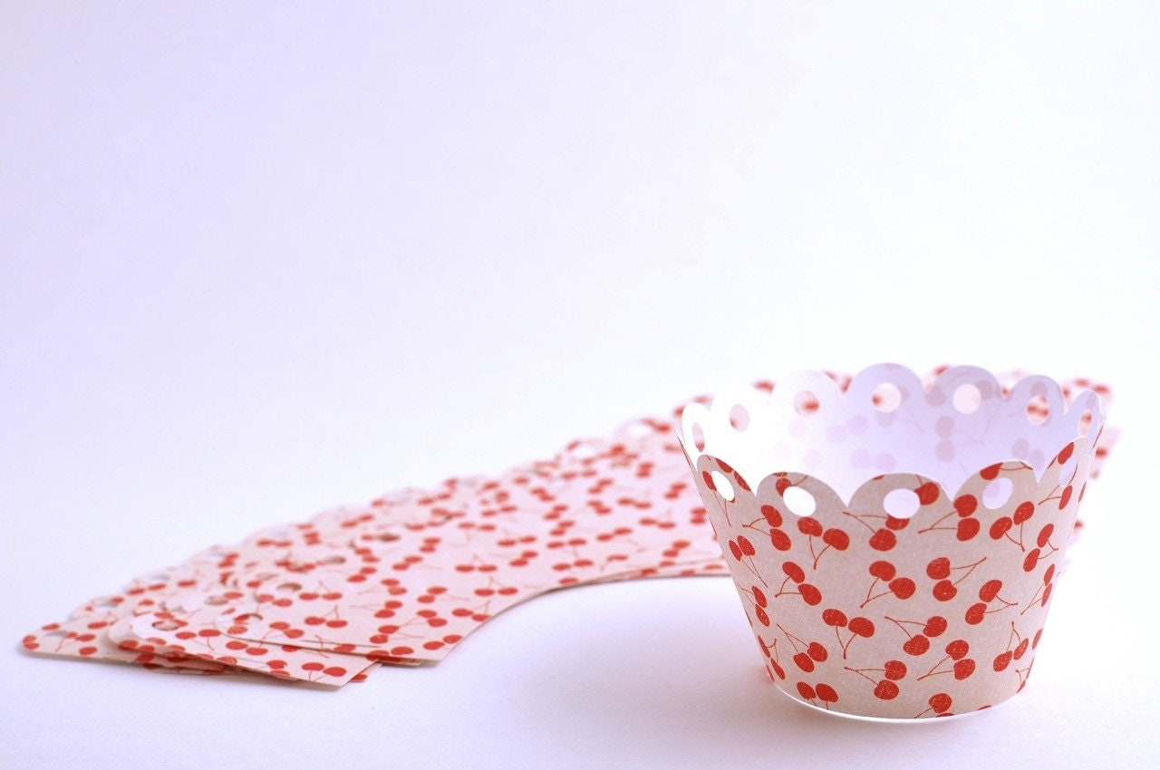 BOGO - Cherry Print - Cupcake Wrappers