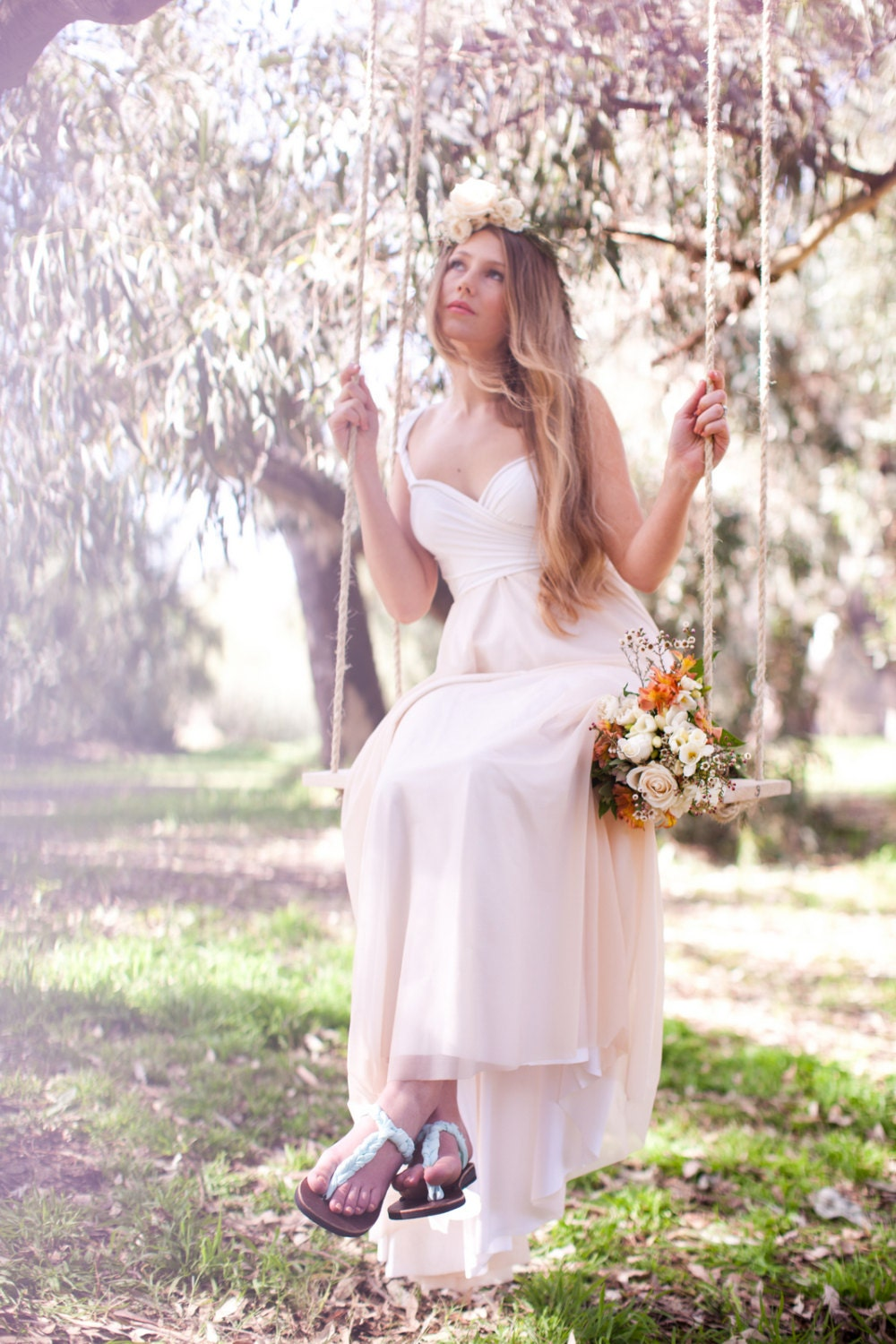 Bridal Infinity Wrap Dress with Train and Chiffon Overlay -Cameo Nude Sheer, Magnolia Off White