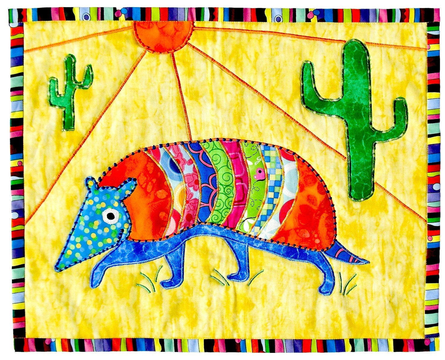 Line Art Quilt Kit : Armadillo art wall hanging quilt kit by kidsquilttoo